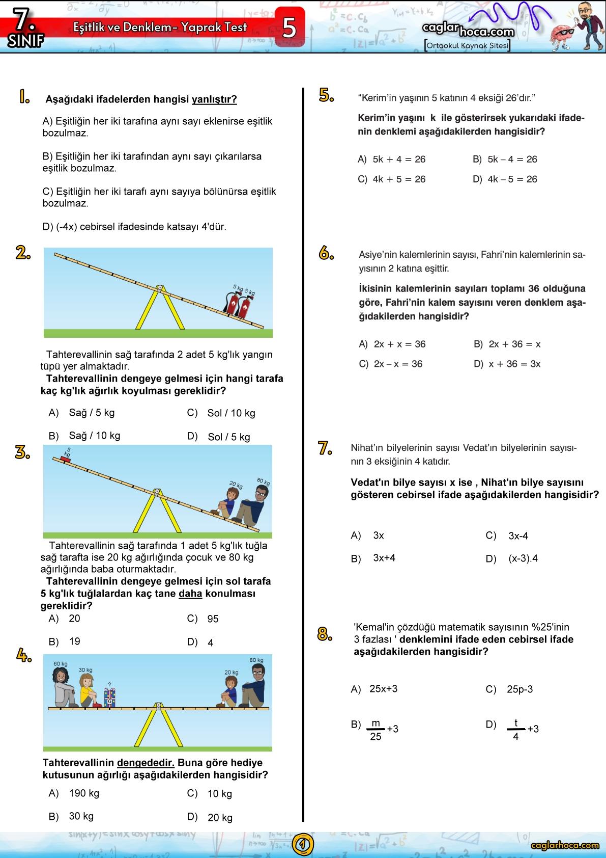 7.sınıf 5.Ünite Eşitlik ve Denklem Yaprak Test