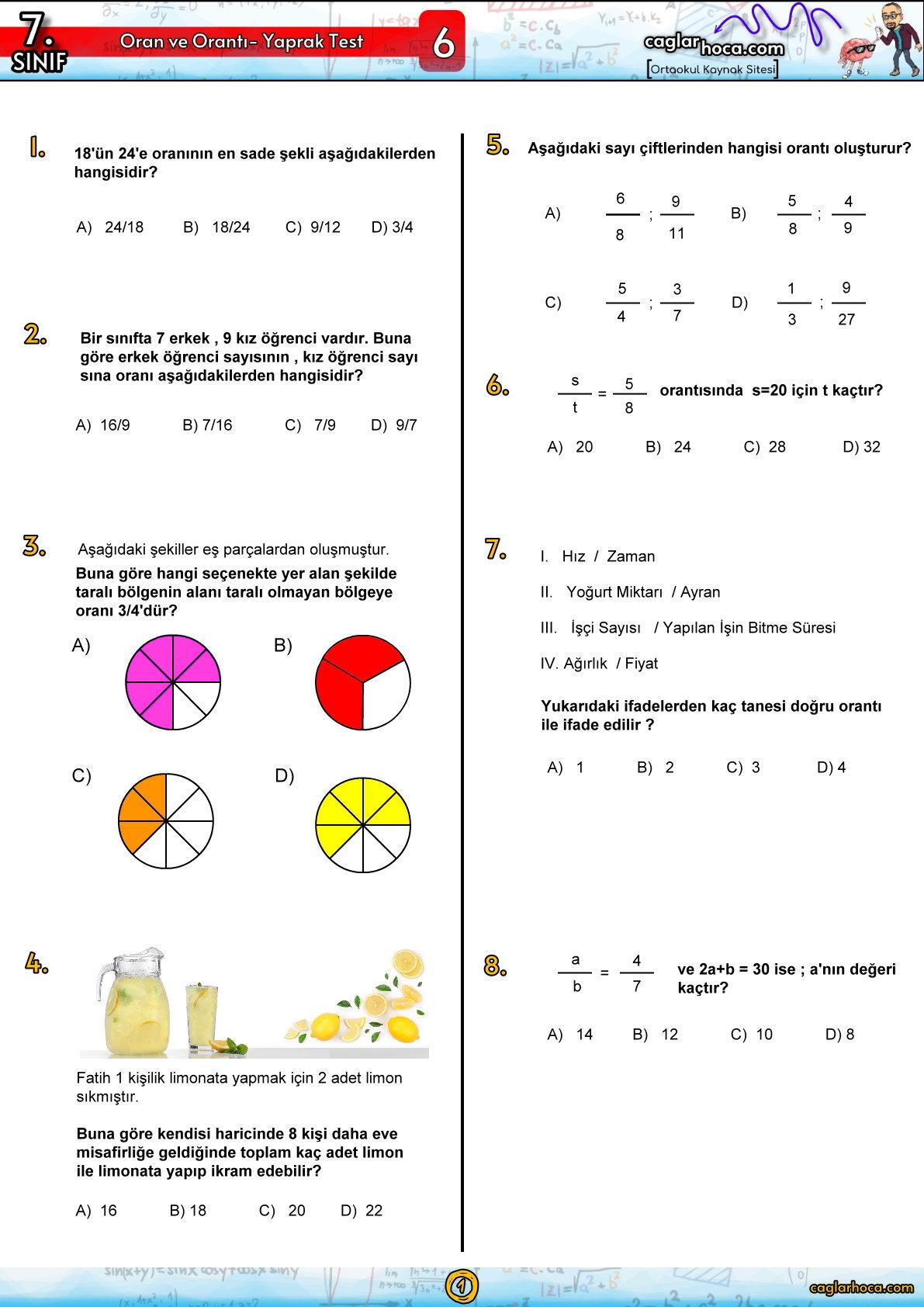 7.sınıf 6.ünite oran orantı yaprak test