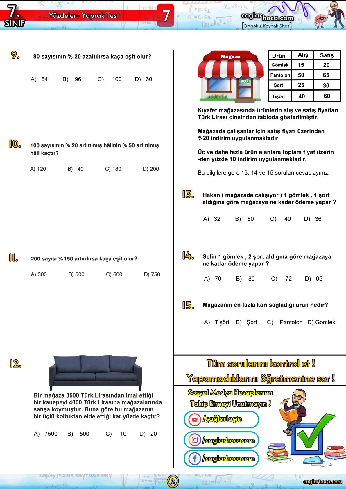 7.sınıf 7.ünite yüzdeler yaprak test