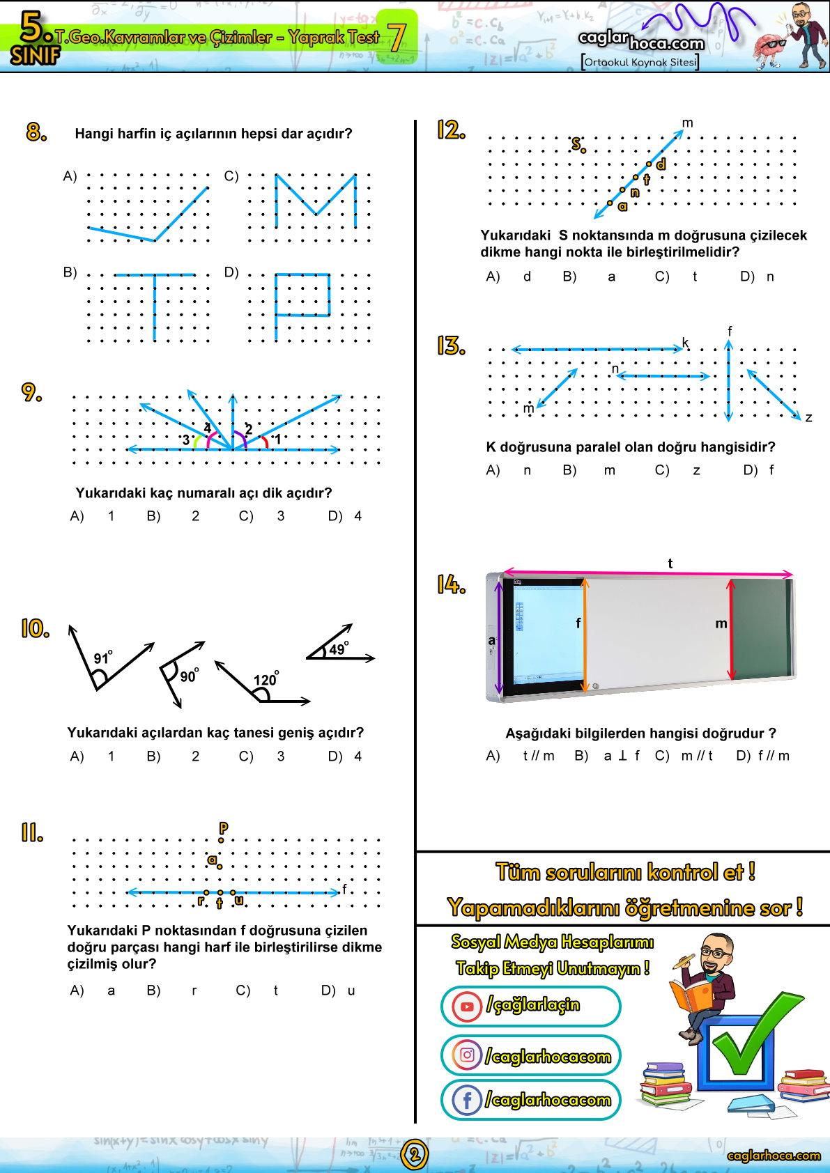 5.sınıf 7.ünite temel geometrik kavramlar ve çizimler yaprak test