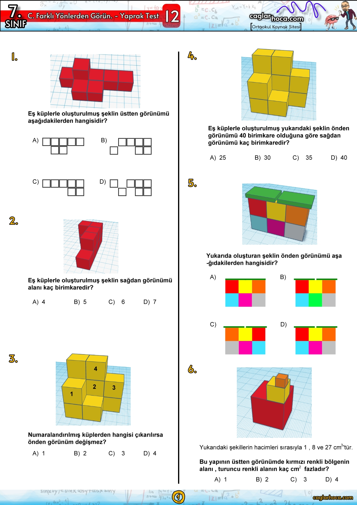 7.Sınıf 12.Ünite Cisimlerin Farklı Yönlerden Görüntüsü Yaprak Test