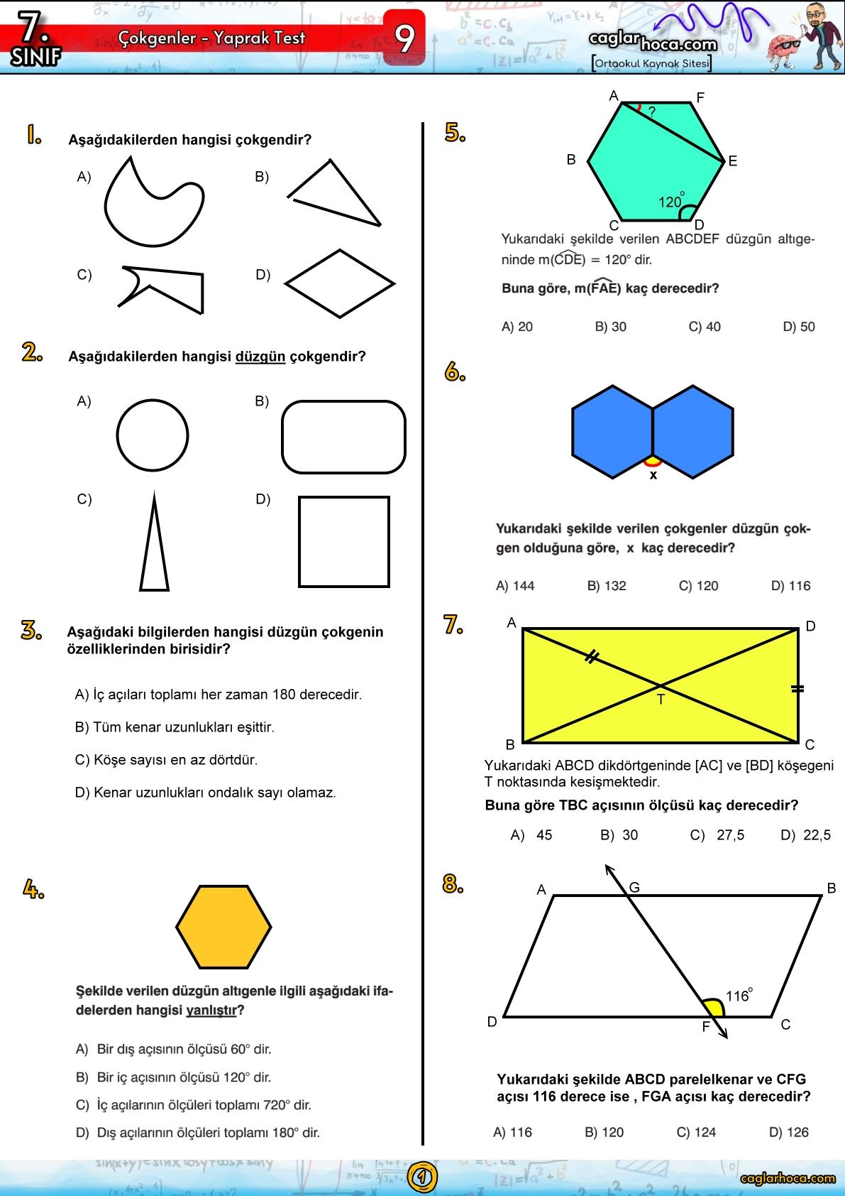 7.sınıf 9.ünite çokgenler matematik yaprak test