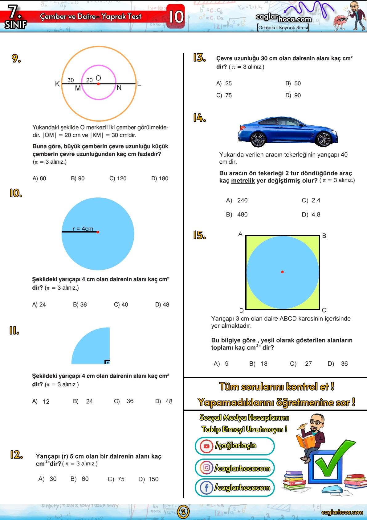 7.sınıf 10.ünite çember ve daire yaprak test