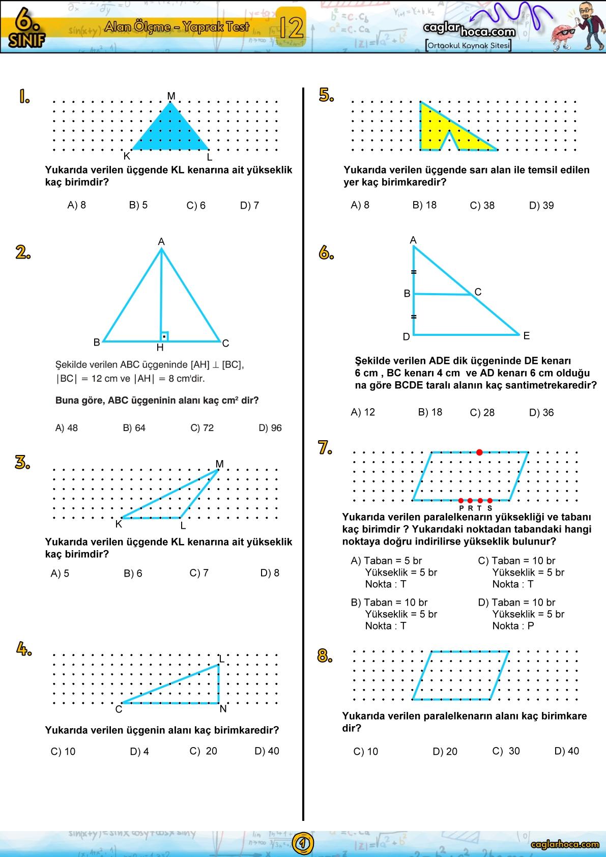 6.sınıf 12.ünite alan ölçme yaprak test