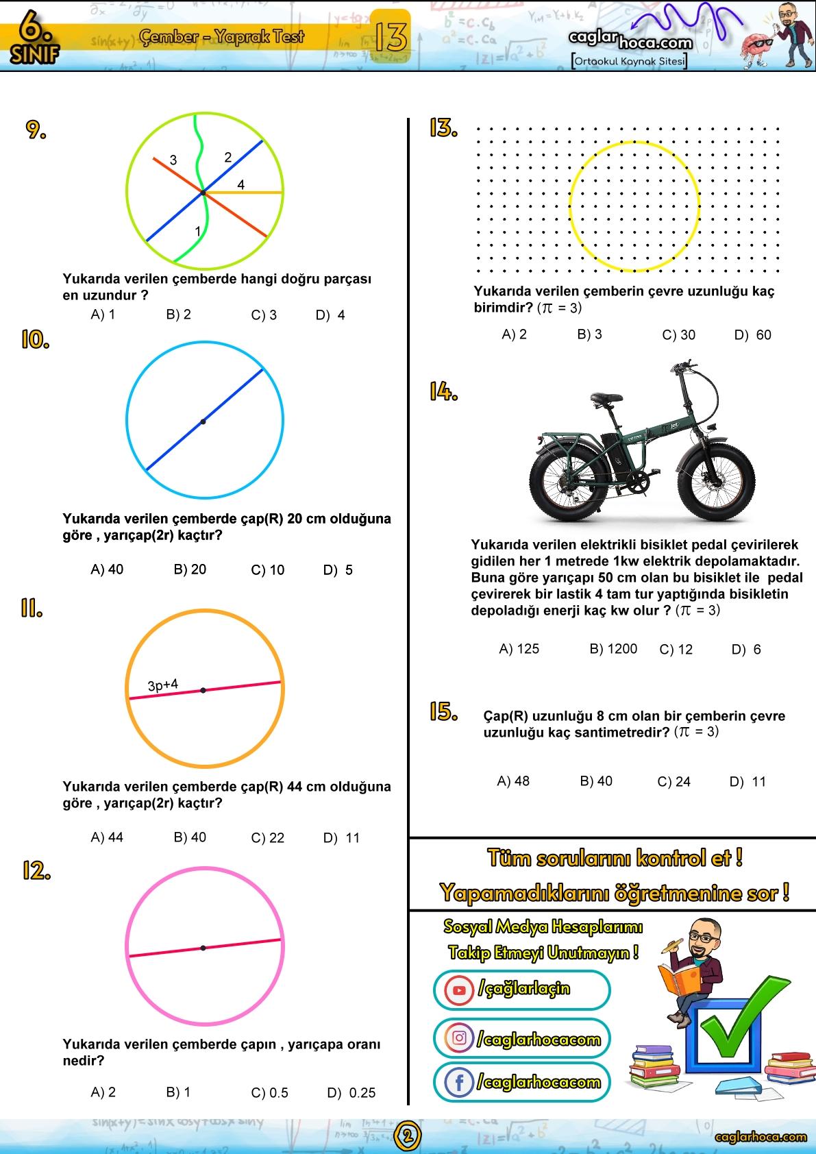 6.sınıf çember yaprak test
