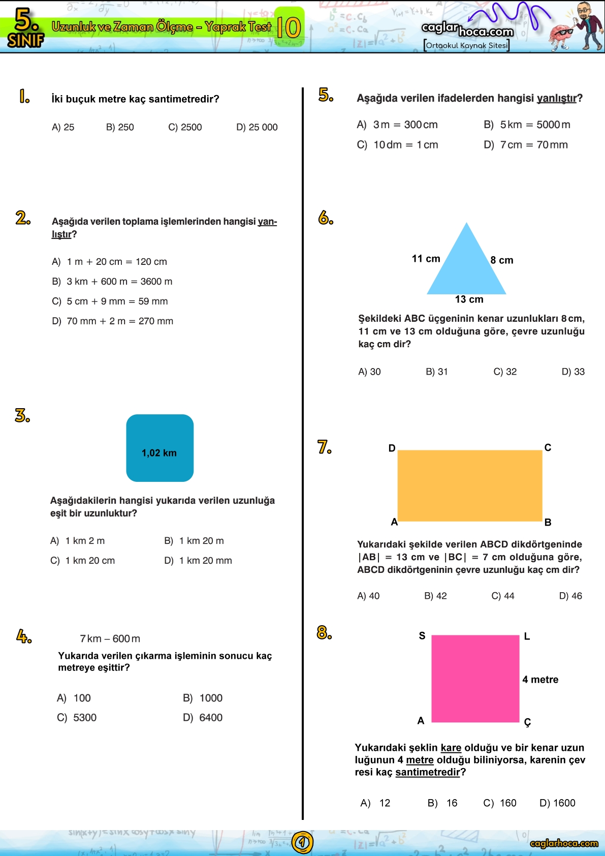 5.sınıf 10.Ünite Uzunluk ve Zaman Ölçme Yaprak Test