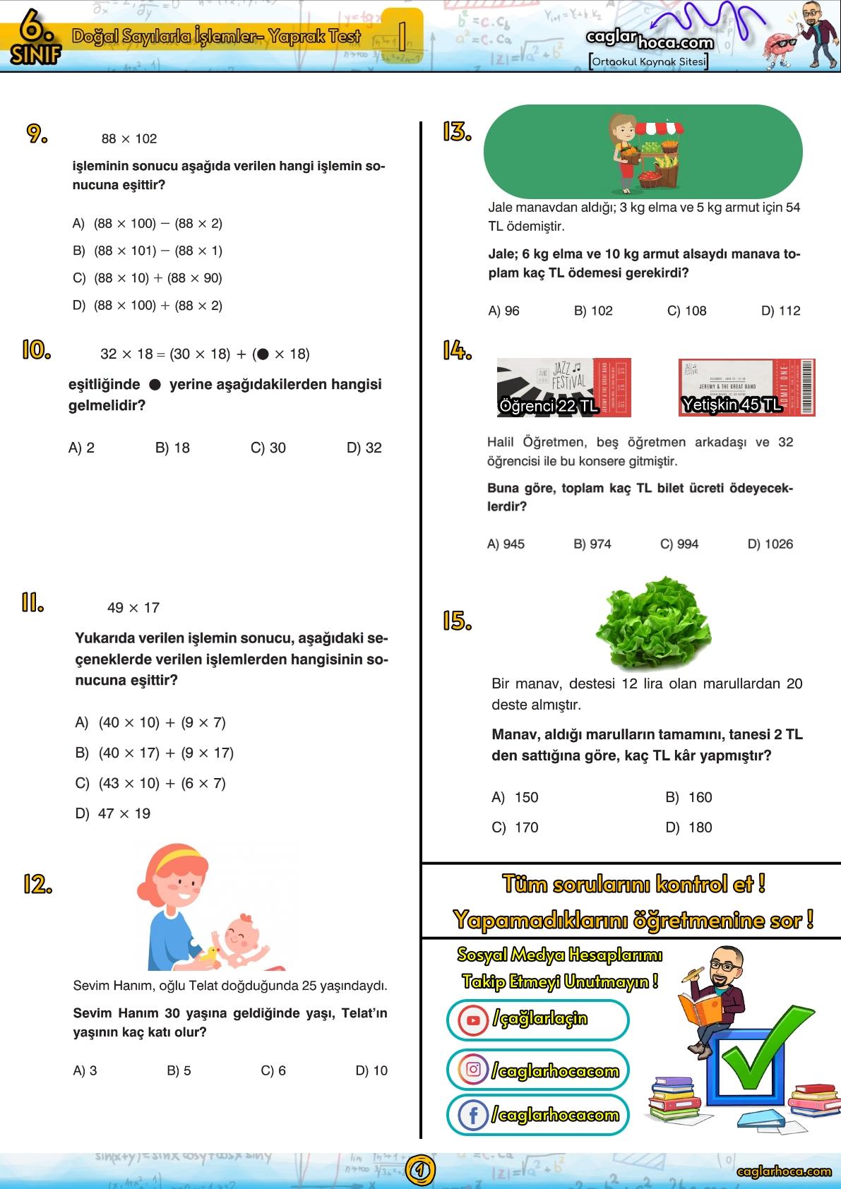 6.sınıf 1.ünite Doğal Sayılarla İşlemler Matematik Yaprak Test