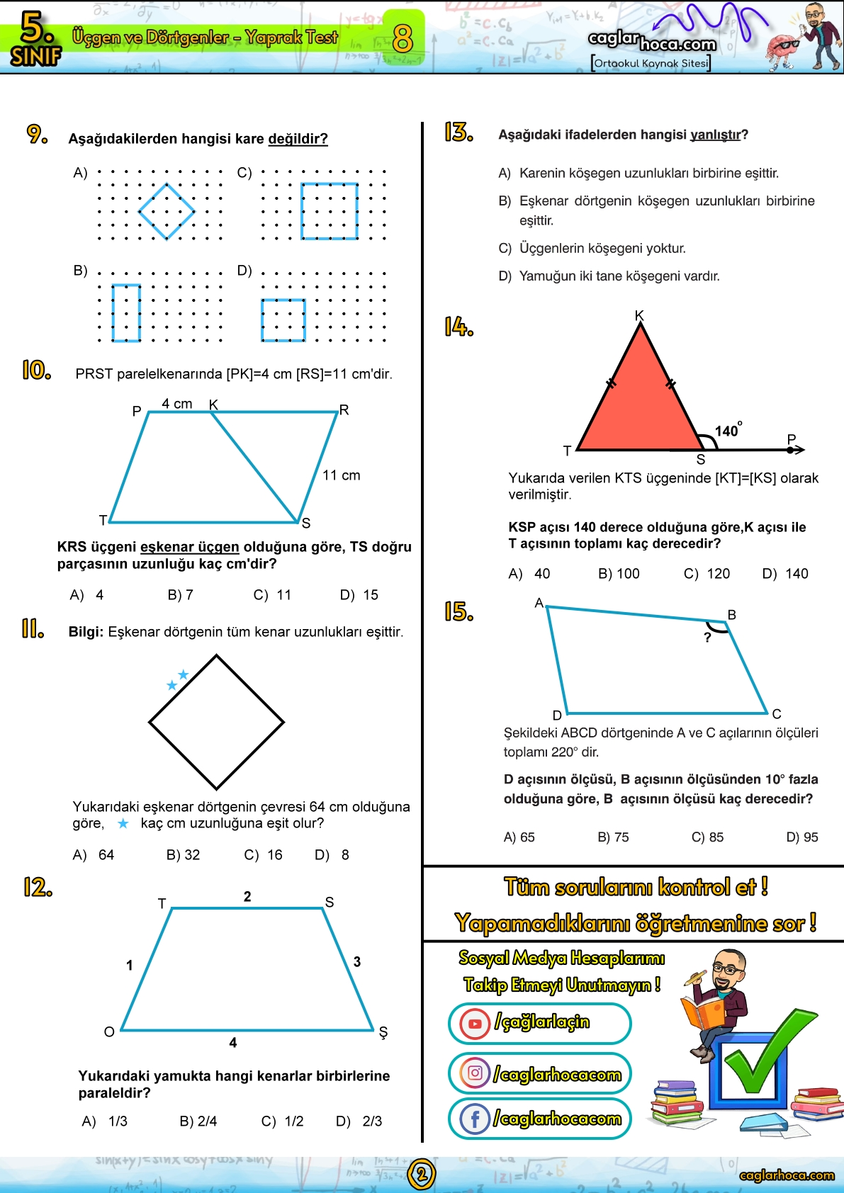 5.Sınıf 8.Ünite Üçgenler ve dörtgenler yaprak test