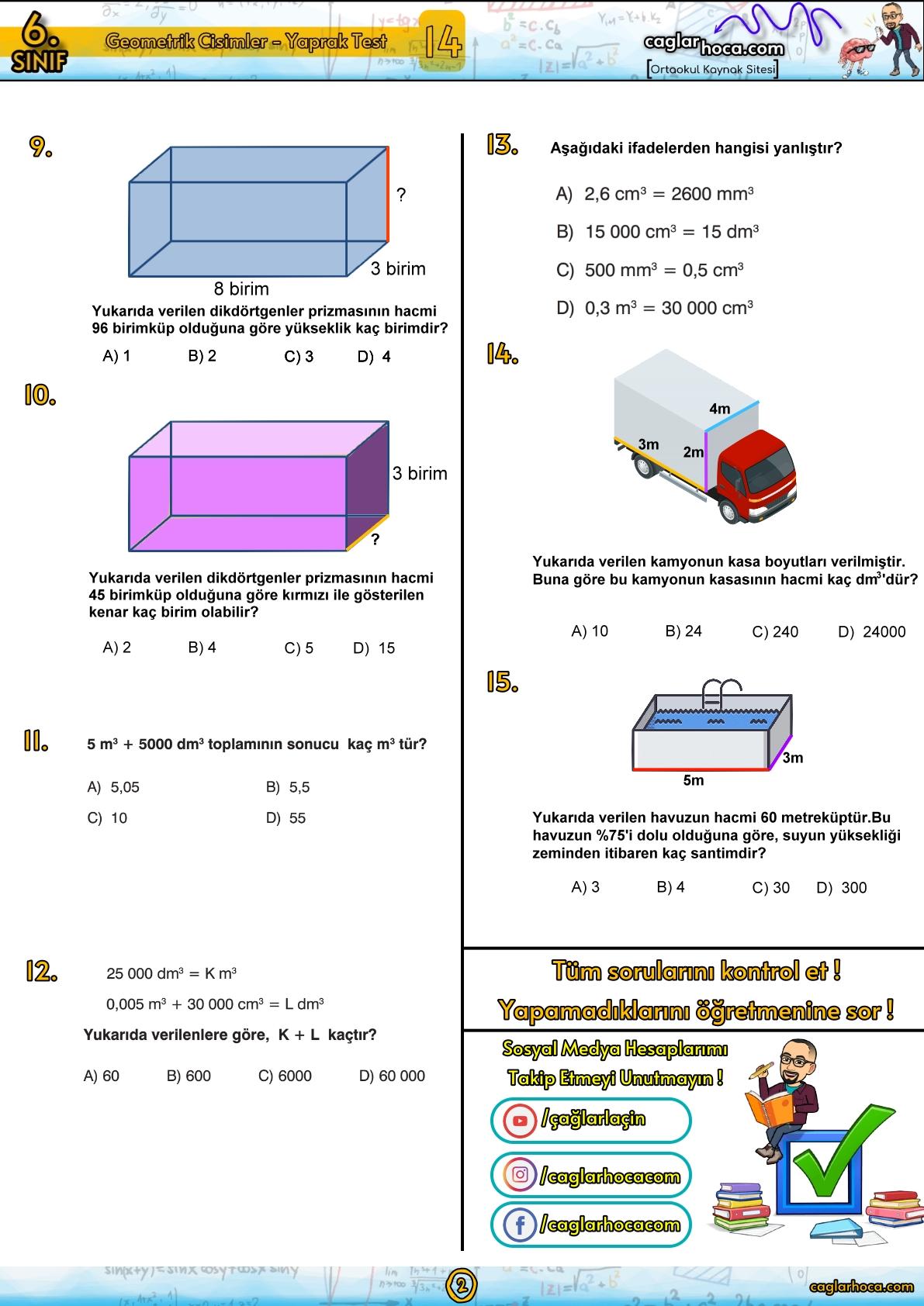 6.sınıf matematik geometrik cisimler yaprak test