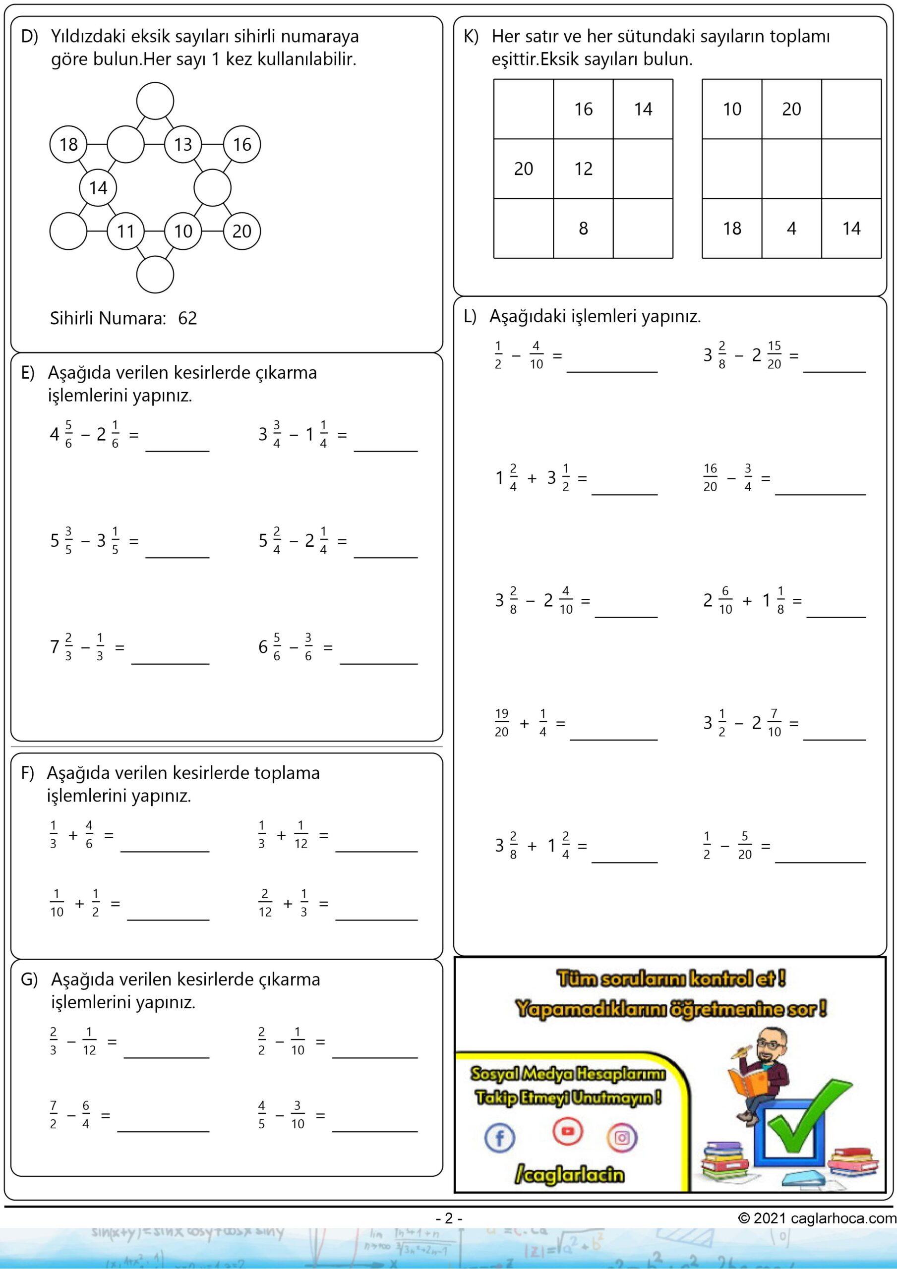 5.sınıf 4.ünite kesirlerle işlemler çalışma kağıdı