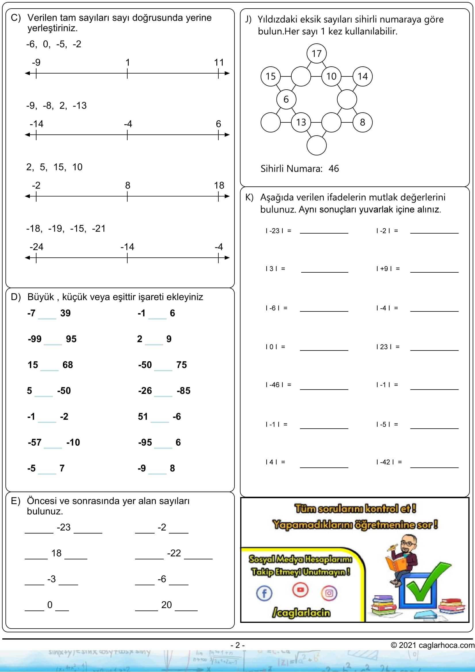 6.sınıf tam sayılar çalışma kağıdı