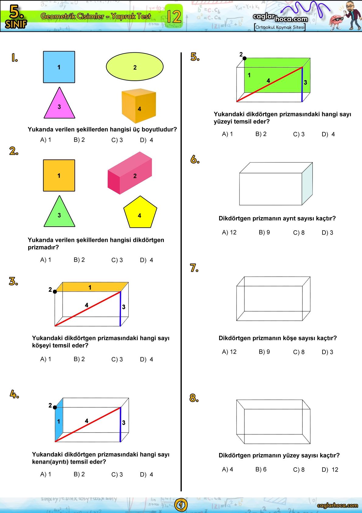 5.Sınıf 12.Ünite Geometrik Cisimler Yaprak Test